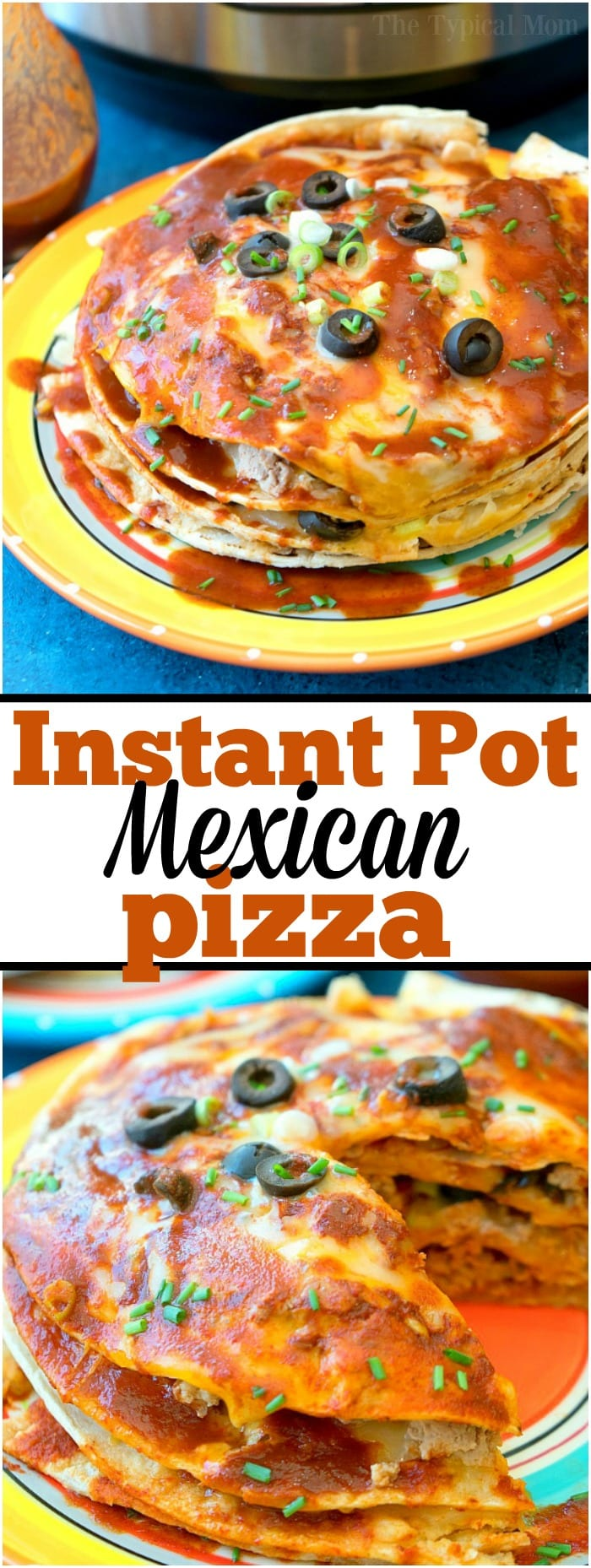 This cheesy Instant Pot Mexican pizza is amazing!! With layers and layers of cheese, sauce and ground turkey it's like a wonderful enchilada lasagna!