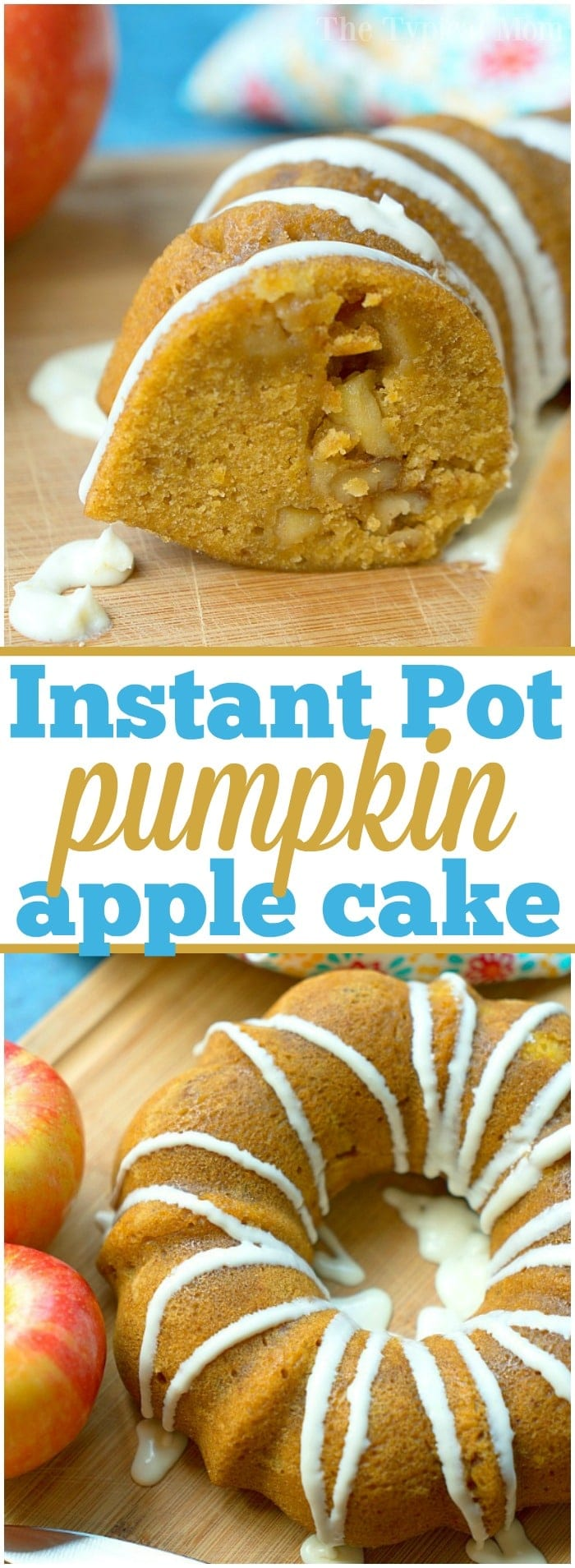 The most delicious Instant Pot pumpkin apple cake that's moist and perfect for Fall. Great breakfast or dessert bread cooked right in your pressure cooker! #instantpot #pumpkin #cake