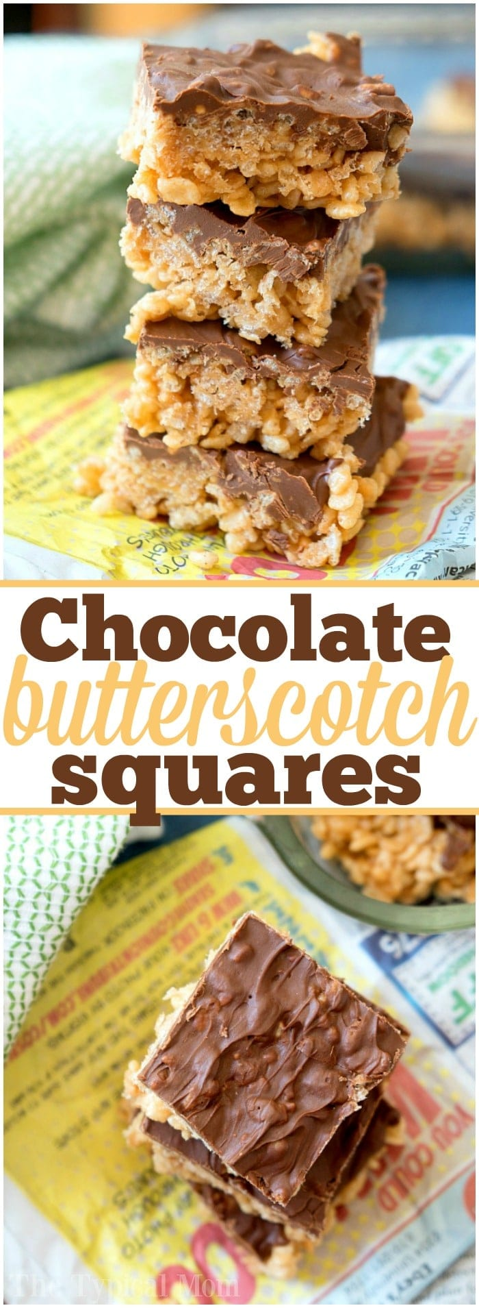 No bake recipe for Scotcheroos are the best peanut butter and butterscotch dessert recipe ever that has chocolate in it too. Super easy to make with cereal. #scotcheroos #nobake #dessert #peanutbutter #butterscotch #ricekrispytreats #thetypicalmom