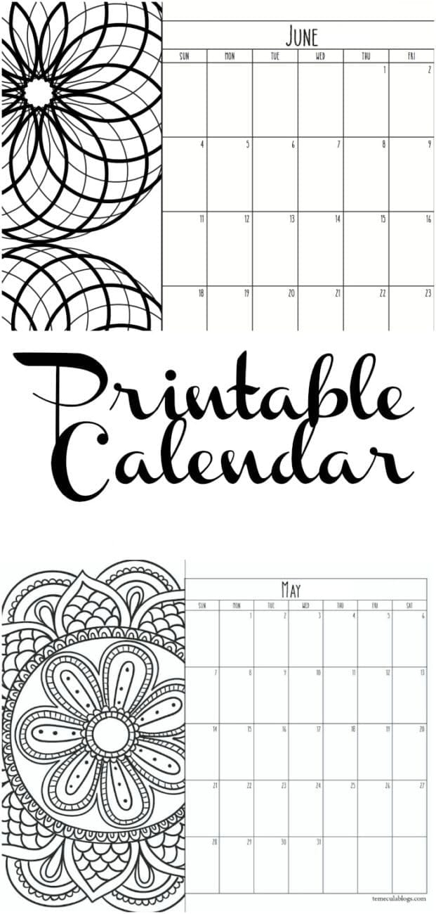Here are a bunch of printable calendar pages for each month of the year. Print one month at a time or an entire calendar and as many as you'd like. A free printable you can share! #free #printable #monthly #calendar