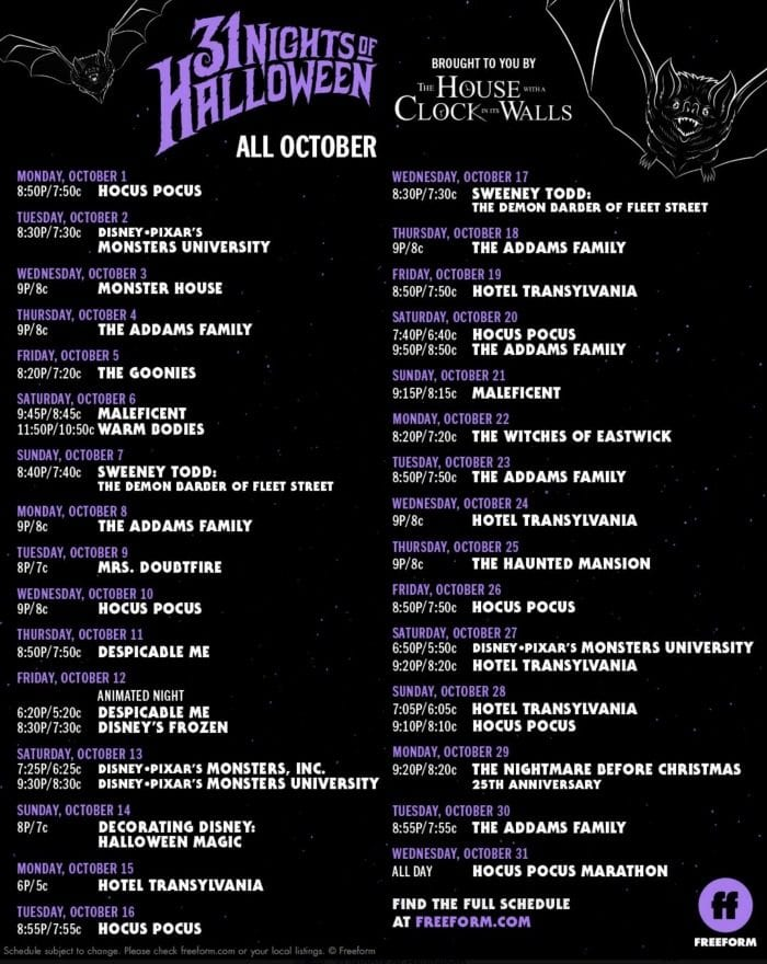 Halloween Television Show Schedule · The Typical Mom