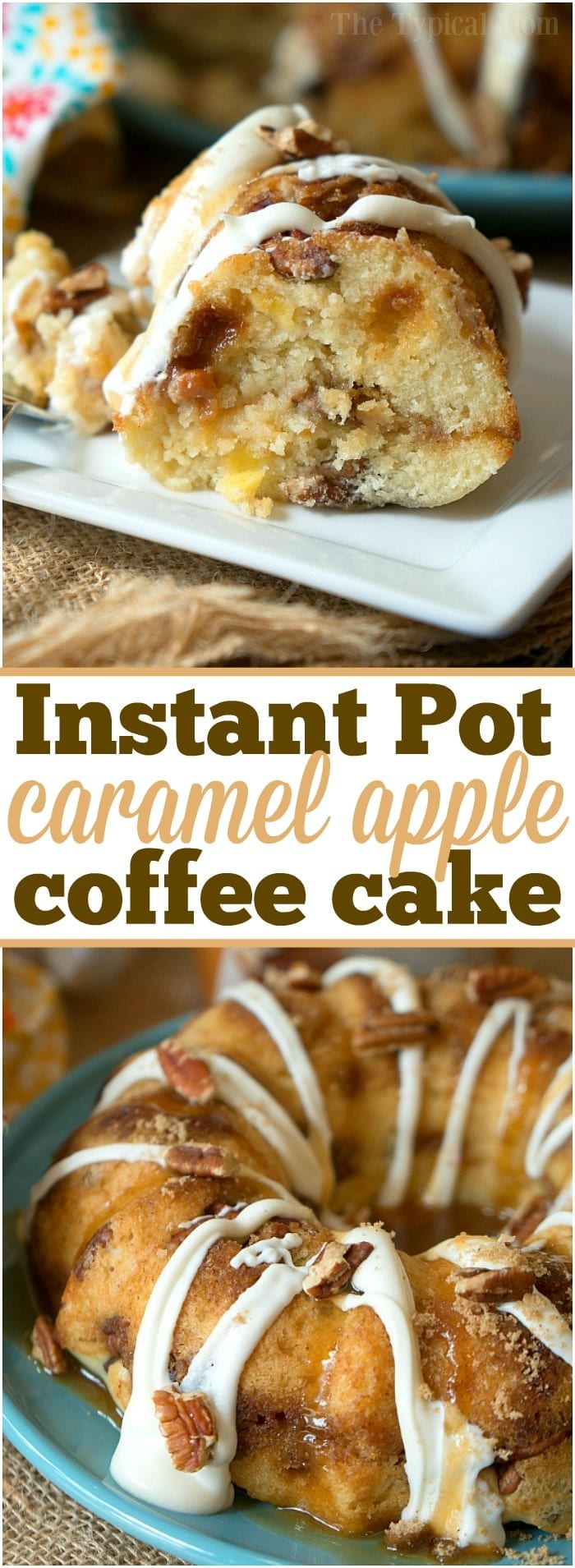 The most amazing caramel apple pecan Instant Pot coffee cake! Bake it in the oven or in your pressure cooker with some coffee for the perfect breakfast.