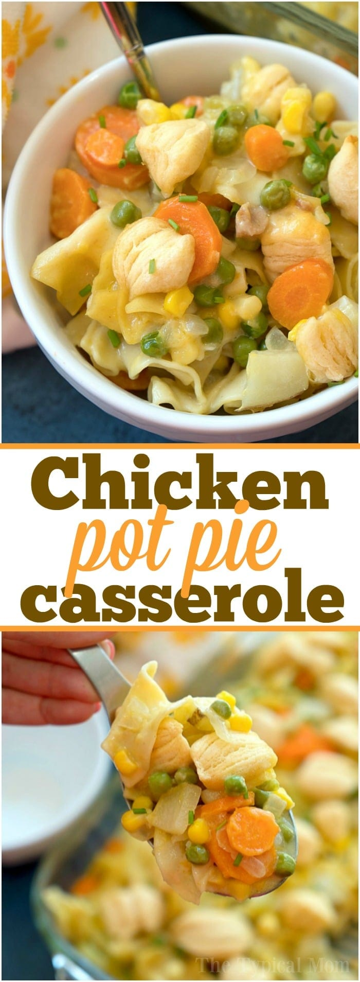 Easy chicken pot pie casserole my whole family loves! Total comfort food made casserole style loaded with chicken and vegetables with a retro style crust.