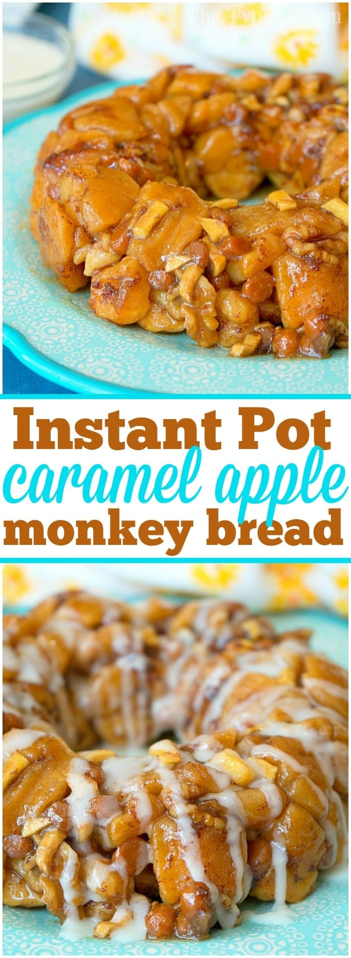 This sticky Instant Pot caramel apple monkey bread is so addicting and easy to make with ready made cinnamon rolls! Just 22 minutes in your pressure cooker makes this sweet caramel apple pull apart bread your whole family will love! If it's hot and you're not about to turn on your oven this is the new way to bake! #instantpot #pressurecooker #monkeybread #dessert #caramel #cake #bundt #cinnamonrolls