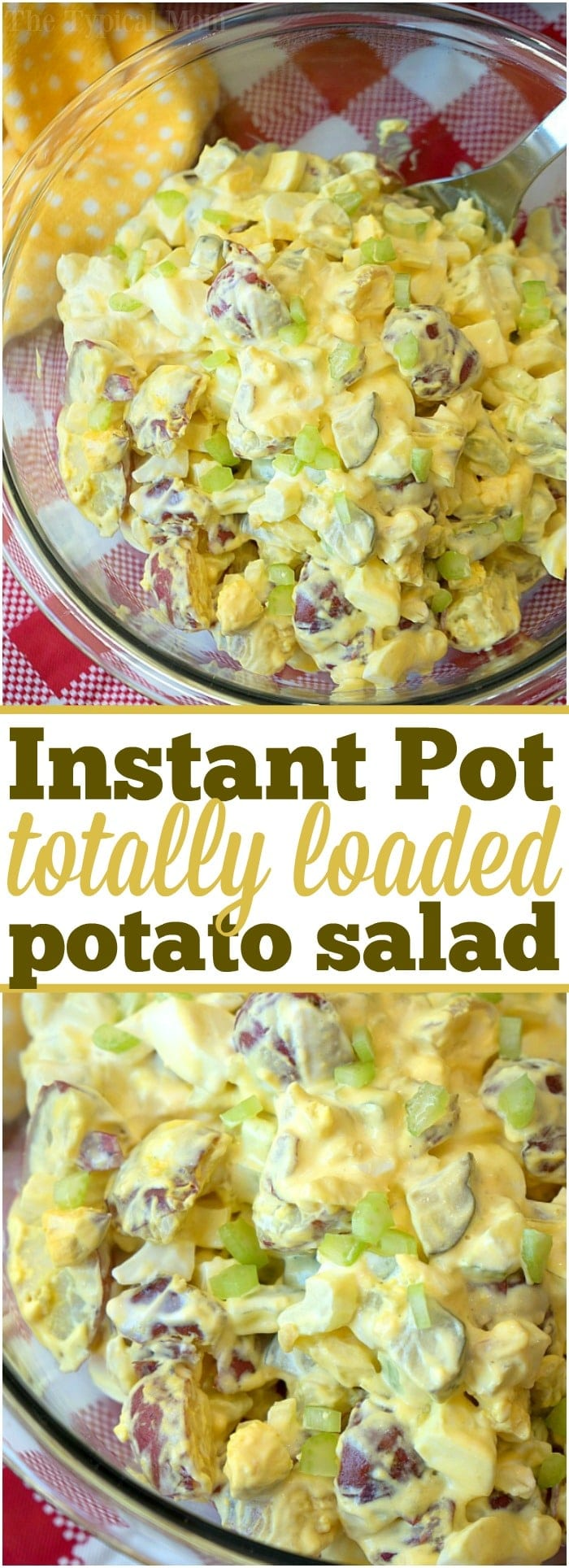 This is the most amazing Instant Pot potato salad you'll ever make in just 5 minutes! Loaded with eggs and pickles it's the perfect side dish to any meal. #instantpot #pressurecooker #potatosalad #salad #potato #sidedish #easy