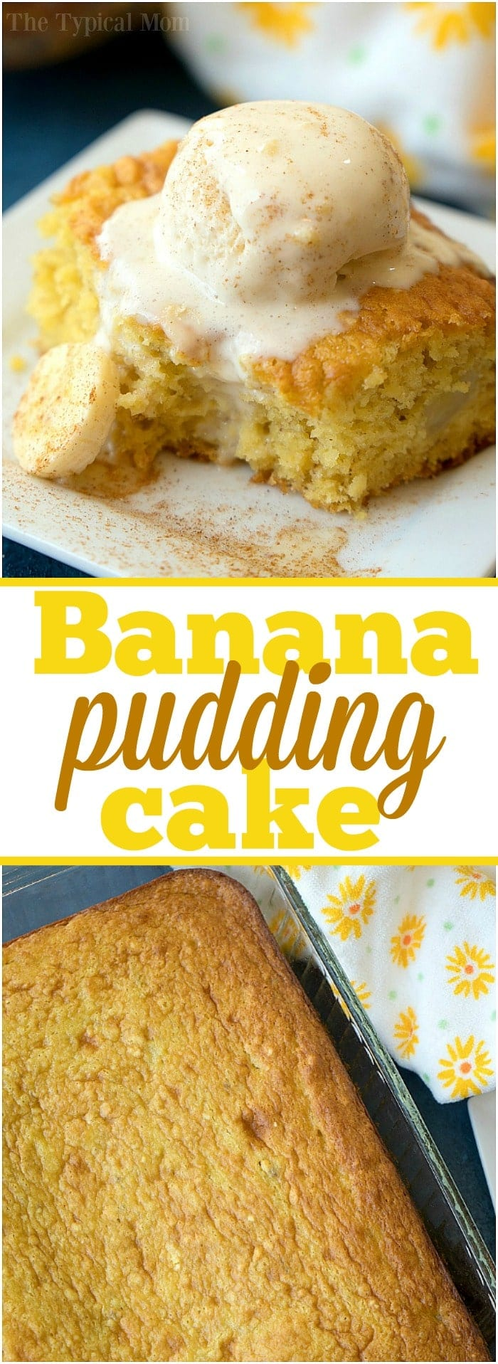 The best banana pudding cake you'll ever make! Loaded with ripe bananas and a touch of cinnamon this easy cake turns out moist and delicious every time. #banana #cake #pudding