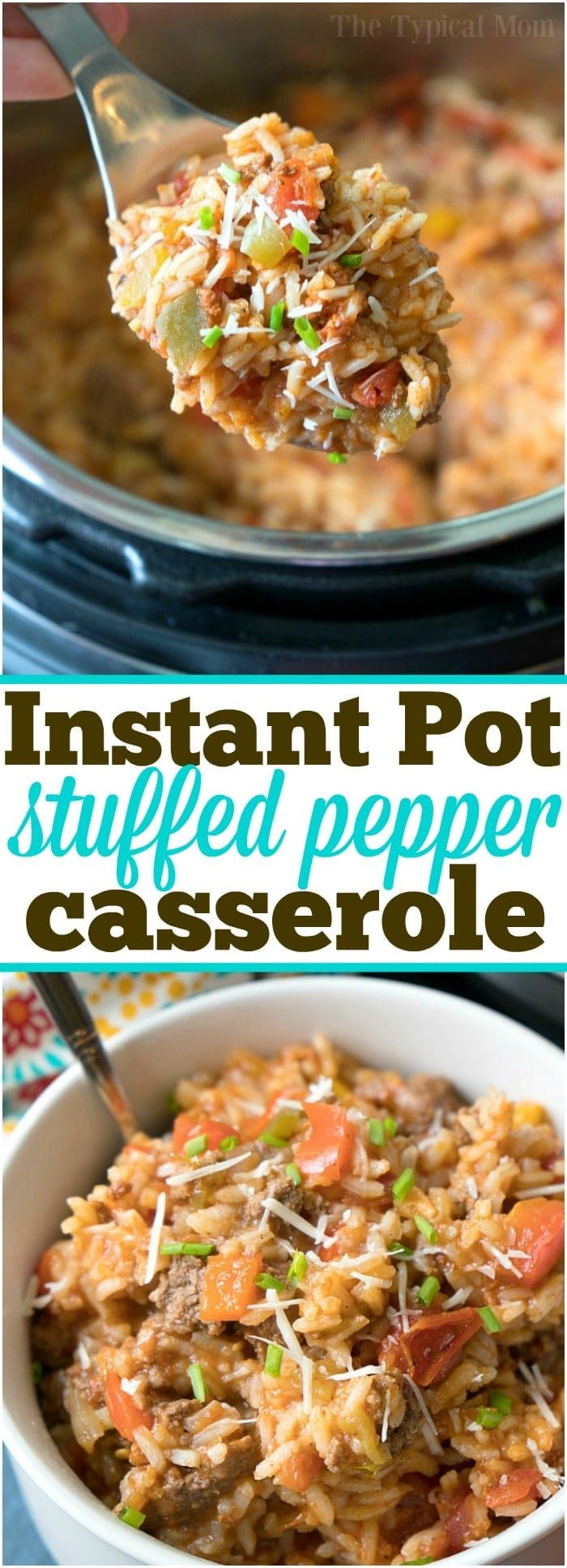 This Instant Pot stuffed pepper casserole is so flavorful and simple to make! Like deconstructed stuffed peppers in your pressure cooker but way easier!  #instantpot #pressurecooker #stuffed #peppers #pepper #cassserole #rice #casserole