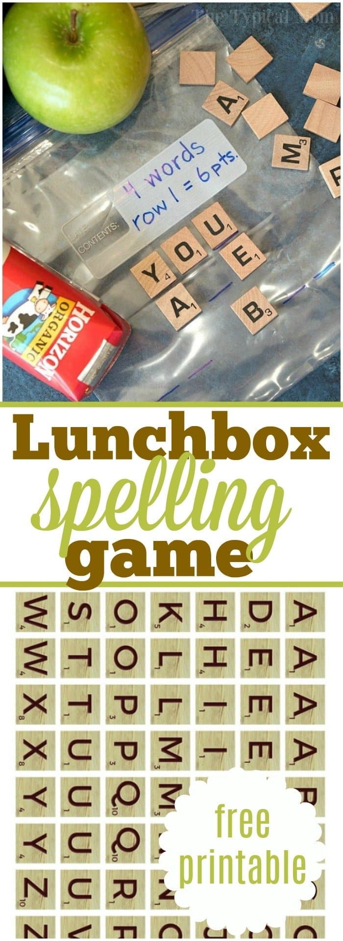 Free Lunch box game for kids has everyone talking! My kids and their friends love playing each day with these printable Scrabble tiles. #lunchbox #game #notes #printable