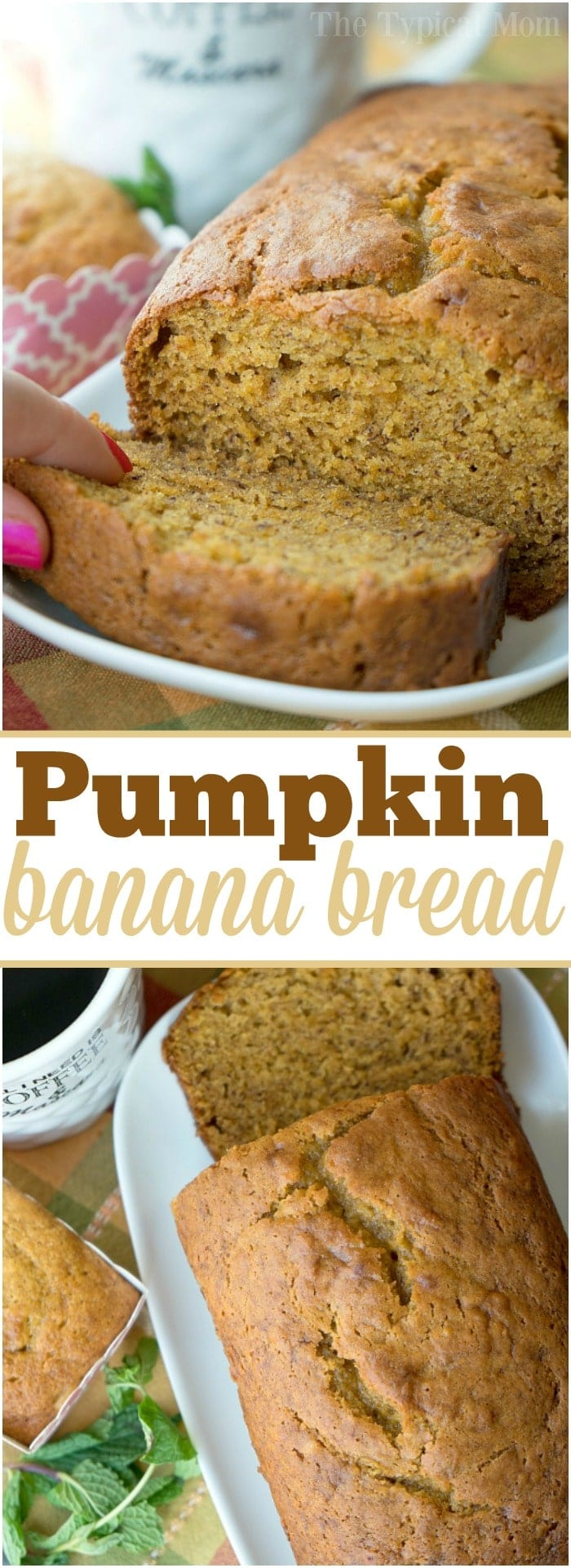 The most delicious pumpkin banana bread recipe is here! Perfect breakfast, brunch or dessert paired with a cup of coffee this holiday season or year round. If you love banana and pumpkin bread this is a great twist on your traditional sweet bread recipe. Perfect for any occasion. #folgers #banana #pumpkin #bread #recipe #overripe #bananas #recipes #moist