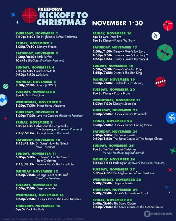 25 days of christmas movie schedule - Abc 25 Days Of Christmas