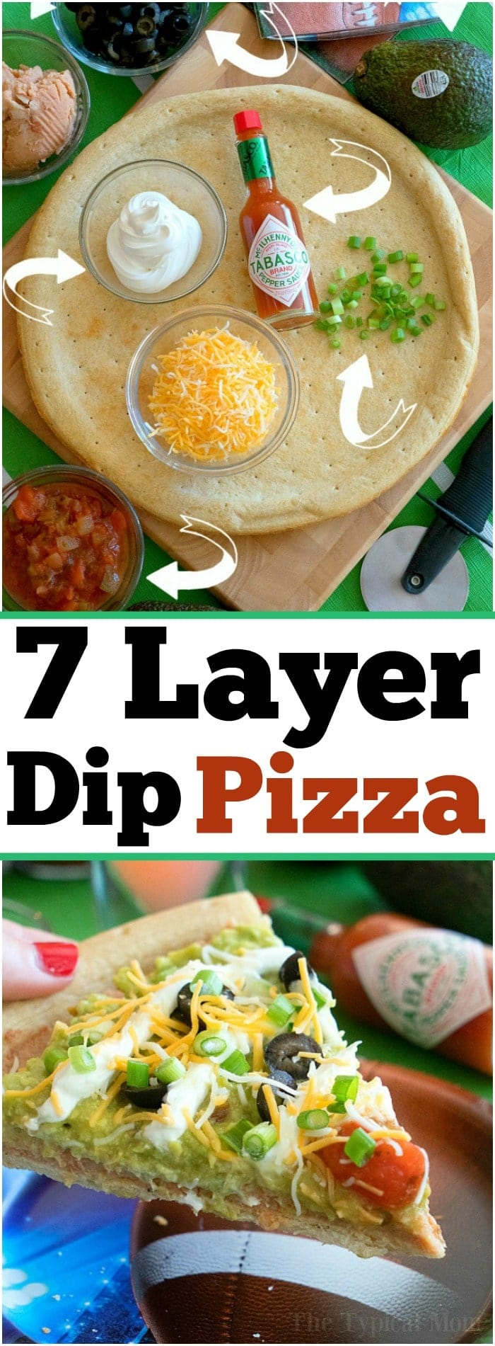 The most amazing football appetizer is this 7 layer dip pizza with tons of guacamole and just enough heat! A hearty meal or snack when you're having a party and packed with tons of flavor, layer after delicious layer. You have got to try this unique pizza idea at your house! #pizza #7layerdip #appetizer #guacamole #partyfood #football #AD #FlavorYourWorld #GuacWorld  http://bit.ly/2p8H3ky