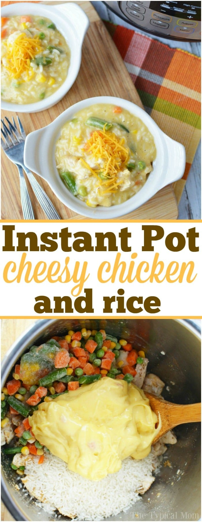 Amazingly easy pressure cooker chicken and rice casserole recipe we make in our Instant Pot the other night for dinner. Just 19 minutes cooks chicken, rice and vegetables perfectly. My kids absolutely love this meal and it's simple for me to throw it all together. A great way to get them to eat vegetables too! #pressurecooker #chicken #vegetables #rice #easy #instantpot #casserole