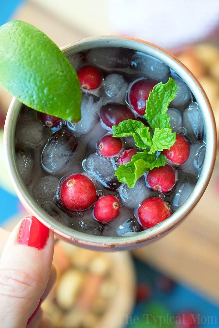 cranberry moscow mule mocktail