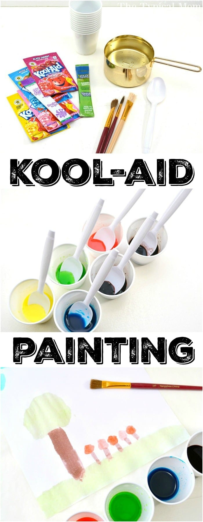 This is how easy it is to make Kool Aid paint so your kids can watercolor safely at home! A fun and inexpensive craft for kids that is easy to put together. Free from chemicals it's a great activity for Preschool children and toddlers too! Painting has never been so fun, and yummy too. #kidscrafts #preschool #toddler #craft #safe #paint #painting #safe #paints #homemade #koolaid #watercolor