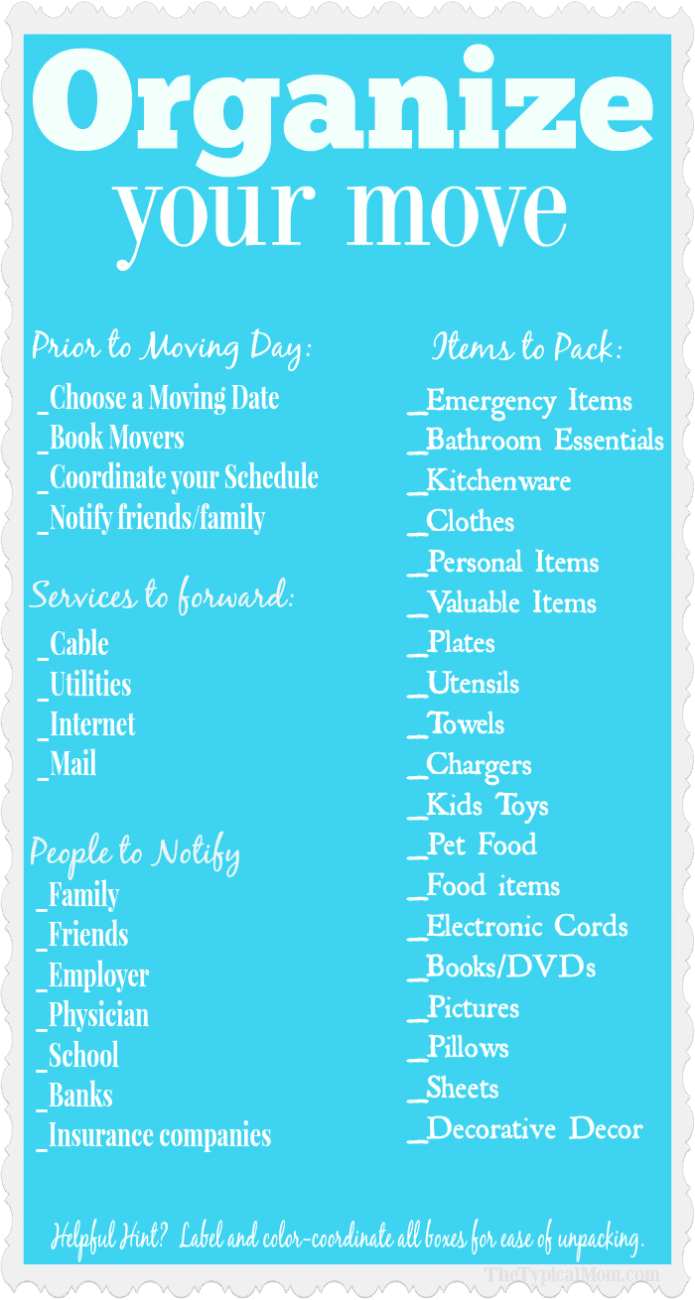 photo about Stay Organized With a Printable Moving Checklist named Relocating Residence Record · The Common Mother