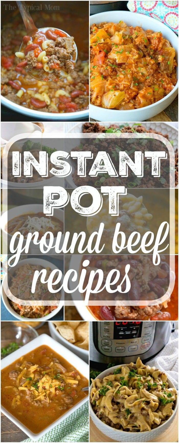 Easy Instant Pot ground beef recipes your whole family will love for dinner or lunch! Simple comfort food recipes using ground beef or turkey that are hearty and take less than 30 minutes total from prep to on the table. The best way to have family dinner nights when you're a busy mom. #instantpot #pressurecooker #groundbeef #recipes #easy #simple #beef