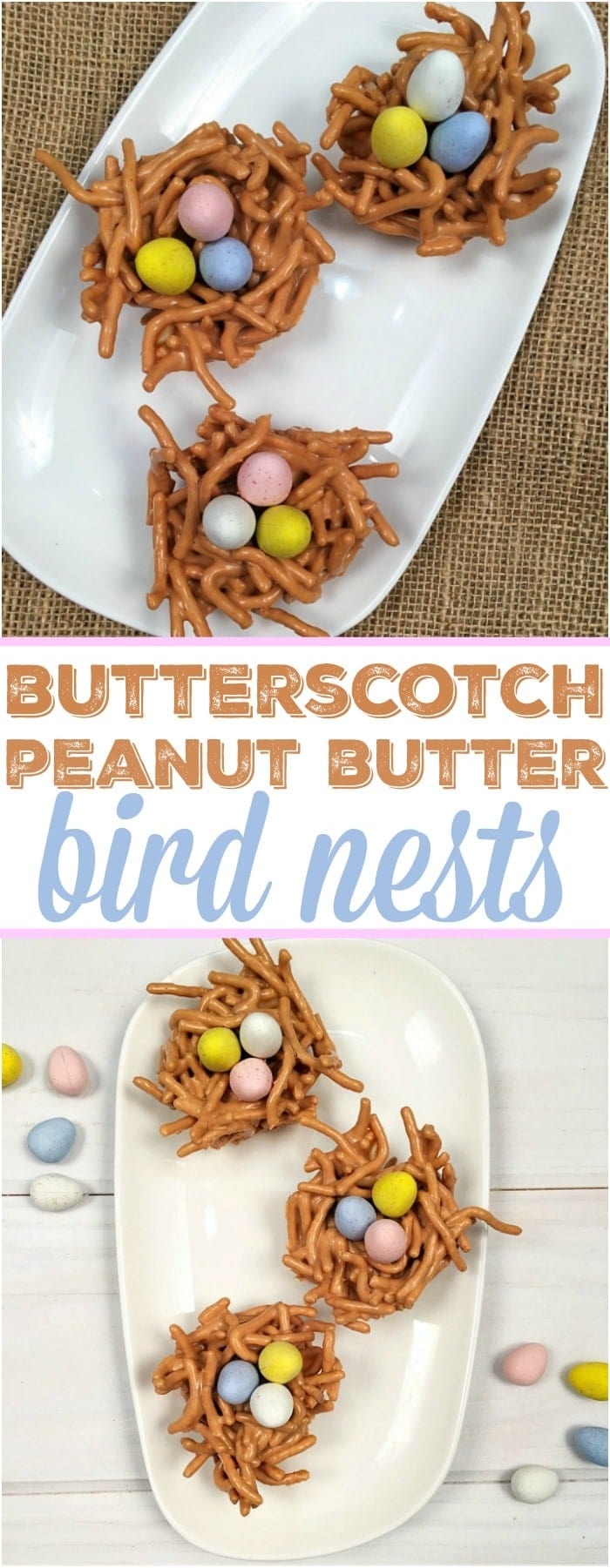These easy butterscotch haystacks desserts are perfect Easter nests and so yummy too. A crunchy and creamy peanut butter treat with chocolate eggs in the shape of a bird nest they are a no bake dessert kids can help you make with a delicious butterscotch flavor.  #butterscotch #haystacks #nests #easter #dessert #easy #cute #eggs #chocolate #peanutbutter #nobake