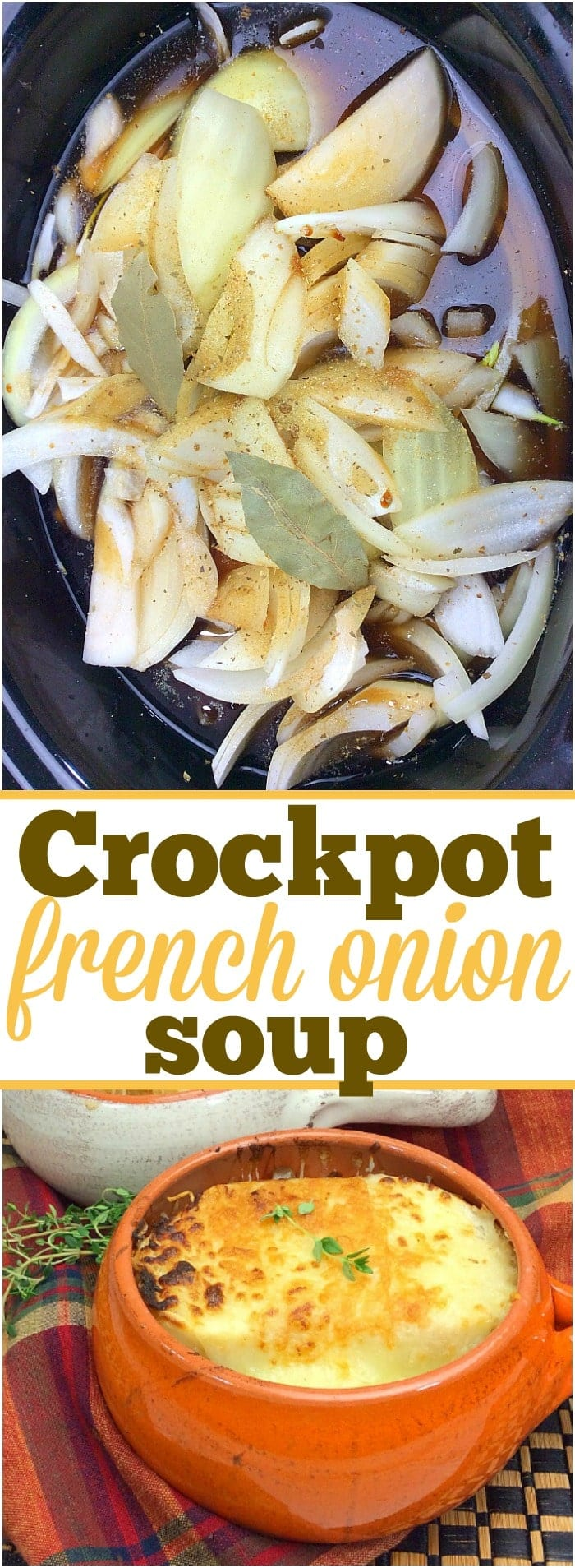 This easy crockpot french onion soup recipe takes just 10 minutes to prepare! The cheapest slow cooker soup that tastes amazing and only needs a few ingredients to make. Let it cook by itself all day and have a complete comfort food dinner ready in the evening. Rich french onion smothered in cheese is the best. #crockpot #slowcooker #frenchonion #soup #easy #simple #cheap #soups #dinner