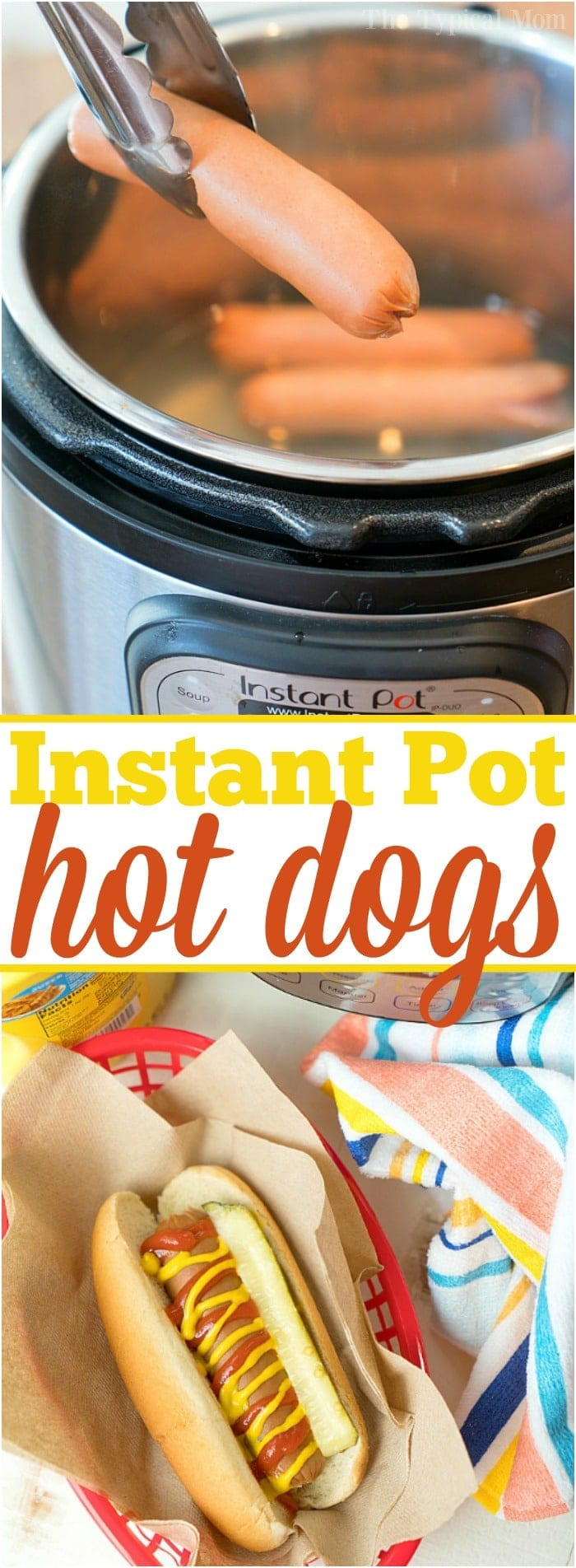 This is how easy it is to make Instant Pot hot dogs. Cheap and easy dinner you can make during the summertime, for a potluck, picnic or year round really. This favorite food for kids only takes a few minutes to become plump and juicy, ready for all the fixings. Use cased or traditional hot dogs and follow these times. #instantpot #hotdogs #hotdog #easy #howtocook #sausage #dinner