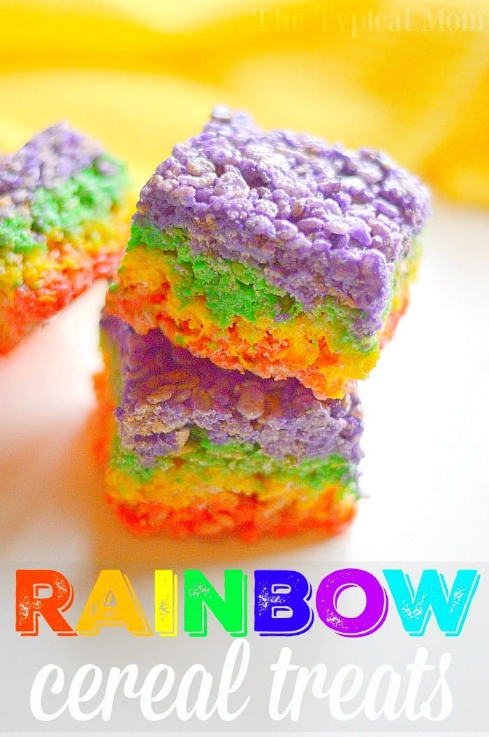 Rainbow rice krispy treats