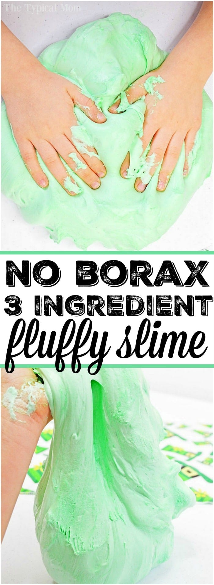 Here is a slime made with shaving cream and 2 other ingredients without borax at all. Safe for kids to make and fluffy to the touch. Create any color you like for the holidays or a slime birthday party activity. It's easy to make goo your kids will love. #shavingcream #slime #green #stpatricksday #easy #kidsafe #boraxfree #no #borax #fluffy