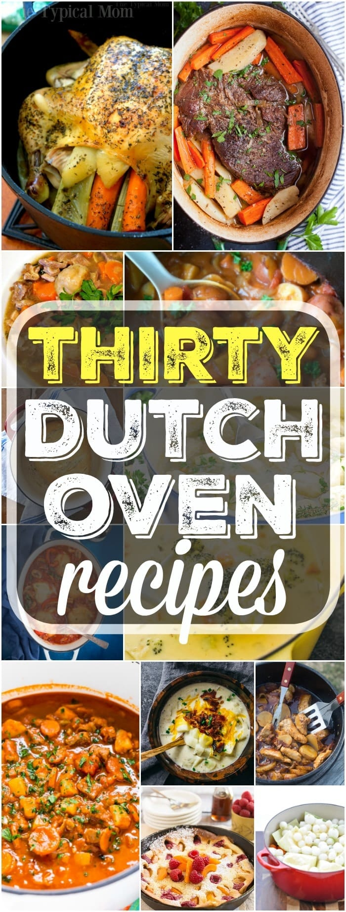 Here are 30 easy dutch oven recipes you can use at home or when you're camping. From dinners to bread and dutch oven desserts too you will find a variety of simple and easy to put together meals here you can cook in your cast iron dutch oven. I love this thing! #dutchoven #recipes #dinners #beef #chicken #soup #stew #dessert #potatoes #castiron