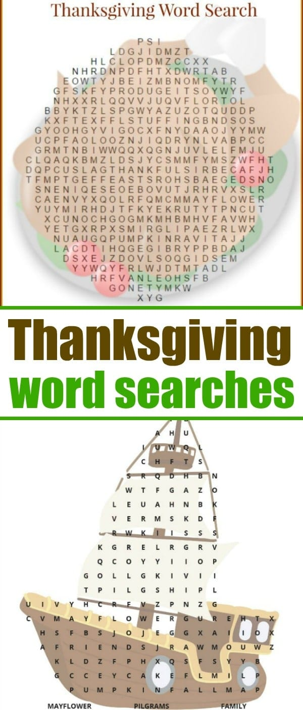 Here's are 2 free Thanksgiving word search printables for grade schoolers! Shaped like a turkey and with a key at the bottom feel free to print as you'd like. #thanksgivingwordsearch #thanksgiving #games #free #printables  #turkey #mayflower