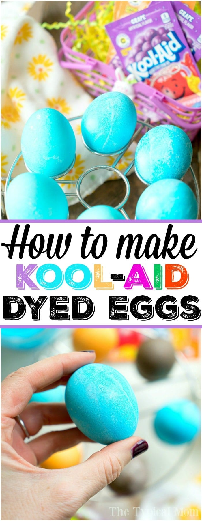 This is how to dye eggs with Kool Aid for Easter or just for fun! Dyeing eggs without the use of any chemicals is always best when children are involved and this way is simple and very cheap to do too! How to make the perfect hard boiled eggs and then dye them any color you want using this simple method is here. #koolaid #easter #eggs #dye #dying #dyeing #howto #natural #safe #easy #cheap #color