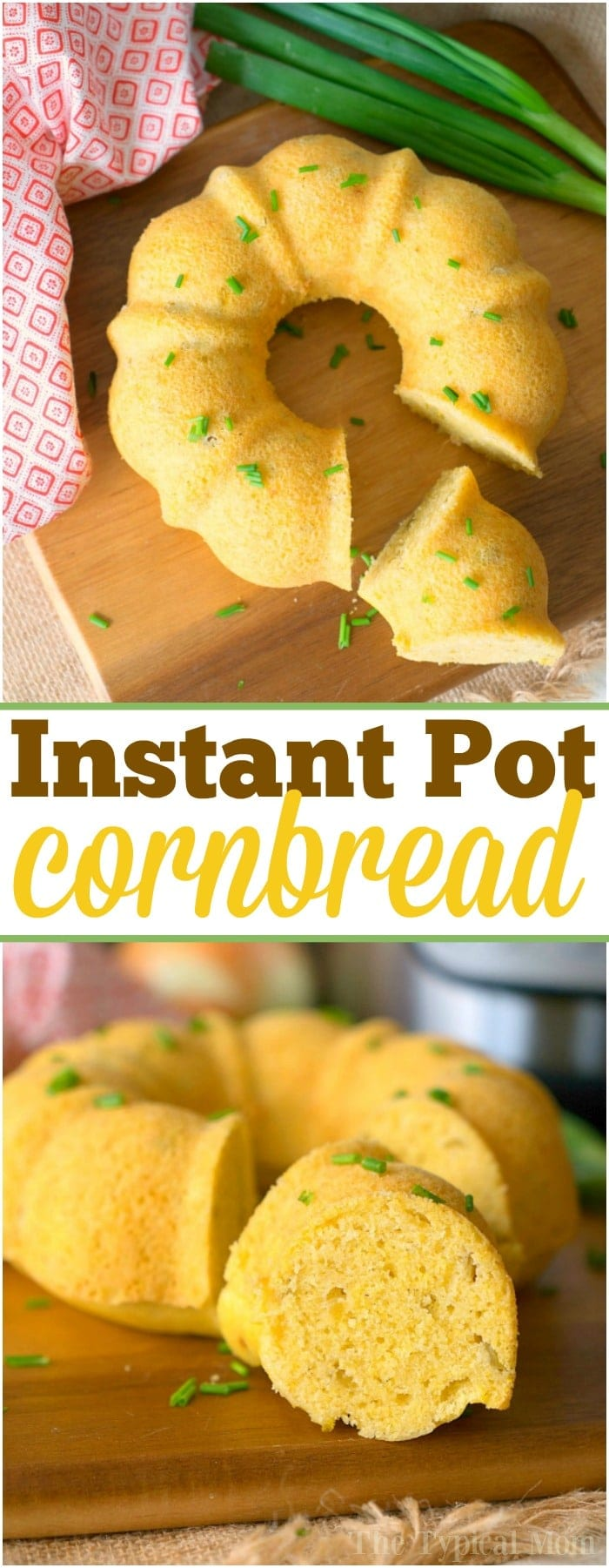 This pressure cooker cornbread is the perfect side dish for any holiday and perfect served with chili! An easy homemade cornbread recipe cooked right in your Instant Pot and comes out so pretty using this bundt pan. Add some chiles and even jalapenos and enjoy your favorite bread in no time at all. #pressurecooker #instantpot #cornbread #easy #quick #homemade #bundtcake #sidedish #easter #thanksgiving #christmas #chili