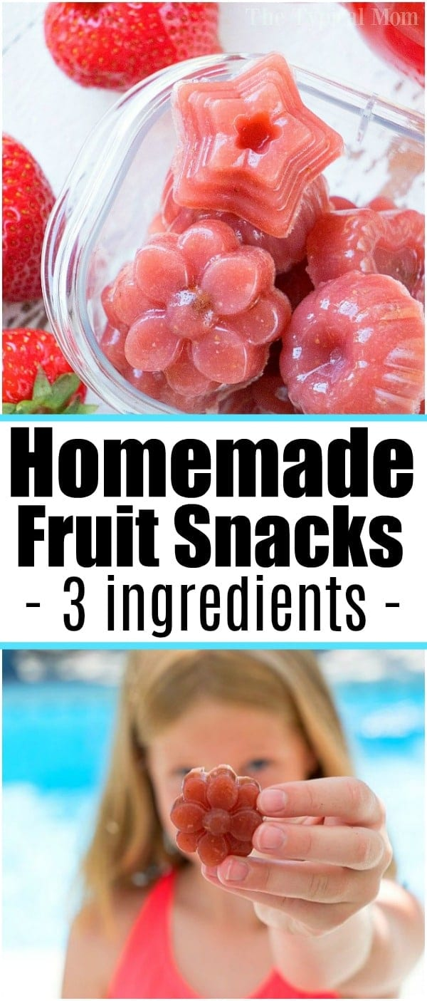 If you've never made homemade fruit snacks it's easier than you think! Only 4 ingredients to make sweet jellies complete with Vitamin C and real fruit! #homemade #fruitsnacks #jellies #strawberry #snacks