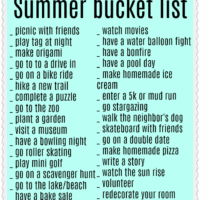 teenage summer bucket list ideas