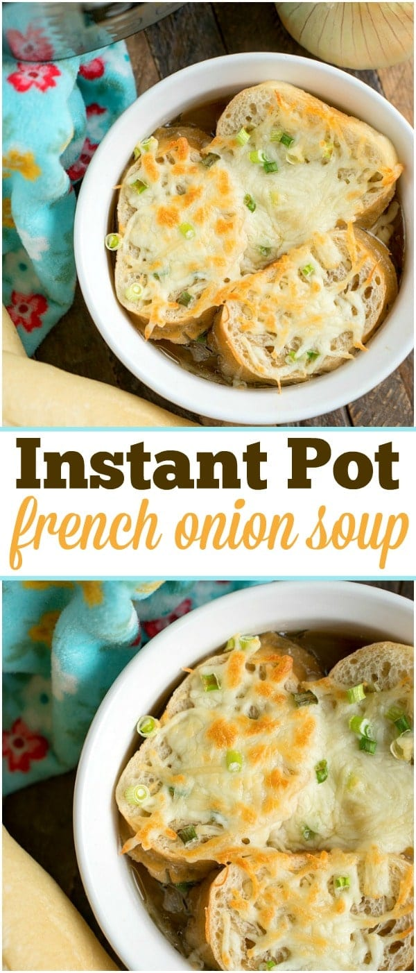 I've got the easiest pressure cooker french onion soup topped with french bread and cheese for you! Done in just 3 minutes in your Instant Pot. #instantpot #pressurecooker #frenchonionsoup #onion #soup #healthy #glutenfree #vegetarian