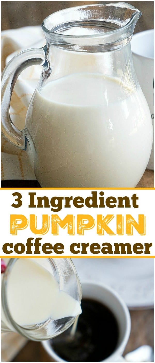 You've got to make this easy homemade pumpkin spice coffee creamer! With just 3 ingredients you can make your own pumpkin creamer & have it year round! #pumpkin #spice #coffee #creamer #homemade