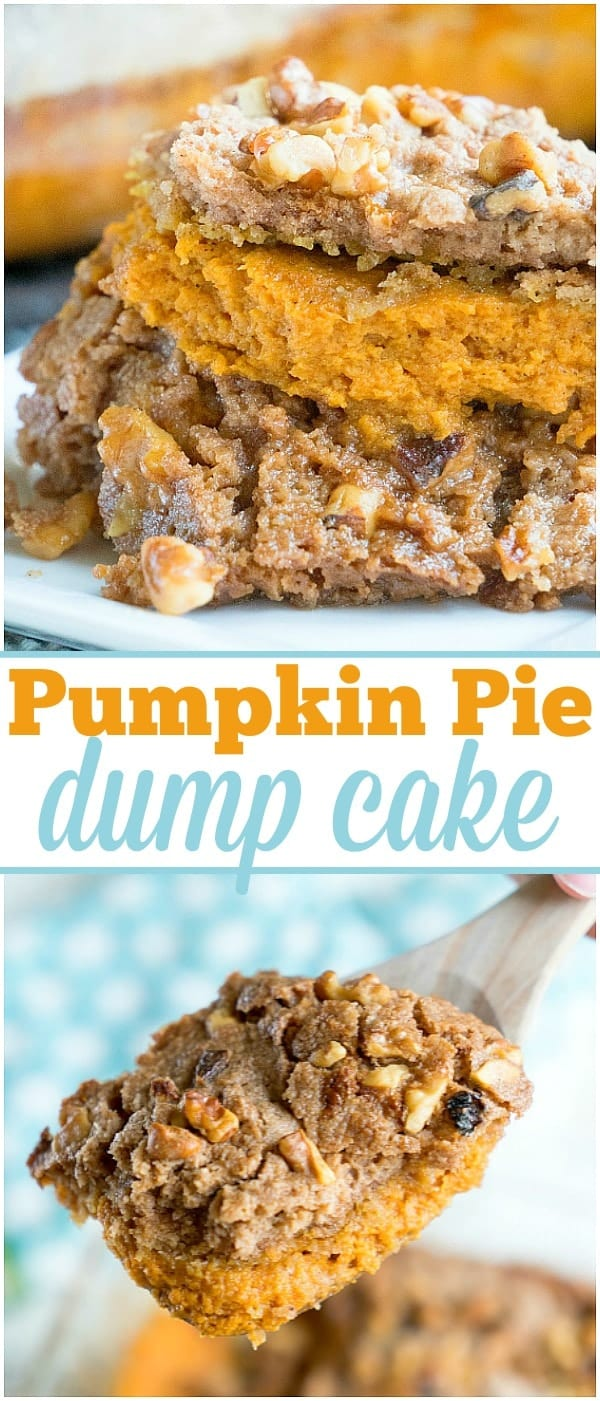 If you're ready for Fall flavors you've got to try this easy pumpkin pie dump cake that needs just 5 basic ingredients! Topped with ice cream it's heaven! #pumpkin #pumpkinpie #dessert #dumpcake #cake #fall