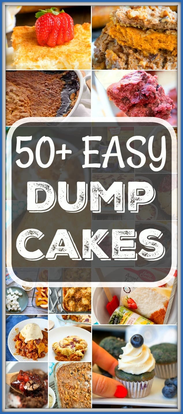 Here are 50+ easy dump cake recipes for you to enjoy. A quick dessert with fruit is sometimes all you need to satisfy your sweet tooth and these are great. #easy #dumpcake #recipes #fruit #cherry #pumpkin #blueberry #lemon #apple #peach