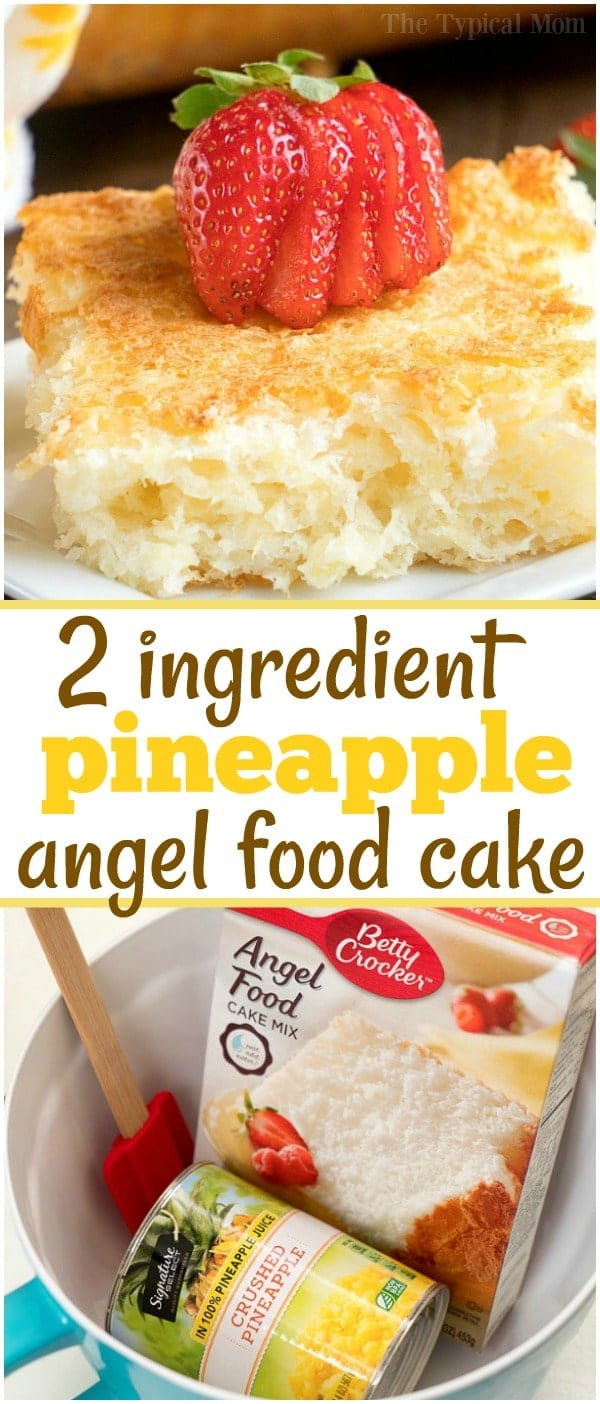 This 2 ingredient pineapple angel food cake recipe is a simple throw together dessert that's great when people come over unexpectedly. #angelfoodcake #pineapple #cake #dumpcake #weightwatchers #skinny #fruit #angelfood