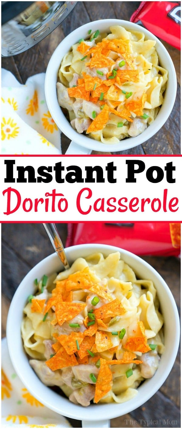 Pressure cooker Dorito casserole in your Instant Pot! Creamy chicken and noodles filled with cheese and topped with your favorite chips. YUM! #instantpot #pressurecooker #casserole #chicken #dorito #doritos #instantpotrecipes #cheesy #creamy #pasta