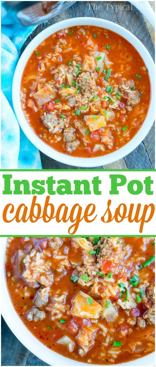 Ready for this easy pressure cooker cabbage soup recipe? If you love your Instant Pot and cabbage then this may become your favorite dinner ever! #instantpot #pressurecooker #cabbage #soup #thetypicalmom #groundbeef #sausage #instantpotrecipes