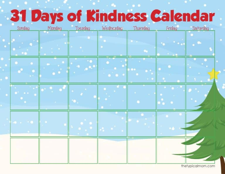 printable kindness calendar