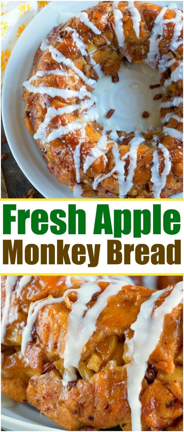 This apple monkey bread is packed full of fresh apples and really delicious! The best monkey bread I've made with refrigerated cinnamon rolls ever. #monkeybread #apple #breakfast #cinnamonroll #best #thetypicalmom
