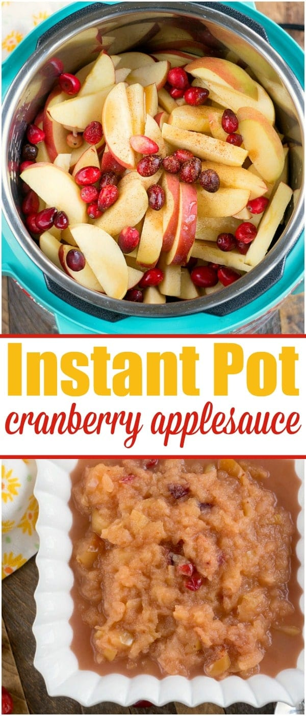 This Instant Pot cranberry applesauce is a great Thanksgiving or Christmas side dish or snack throughout the year. It's a great sweet homemade treat. #instantpot #instantpotrecipes #thetypicalmom #cranberry #applesauce #homemade #pressurecooker #crockpotexpress