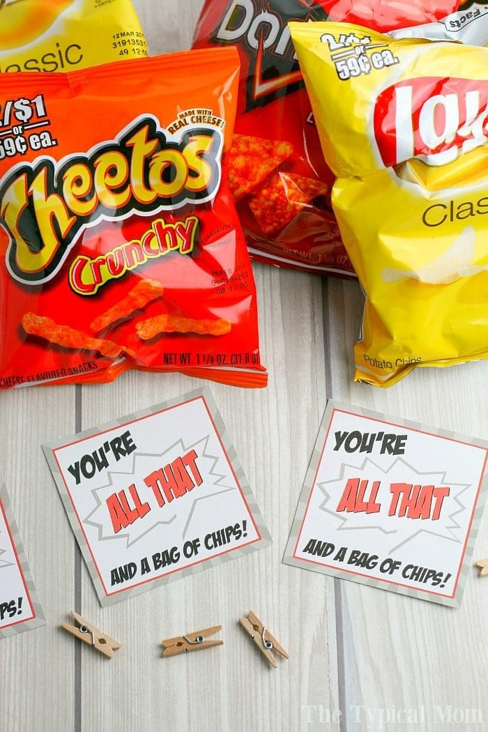photograph regarding You're All That and a Bag of Chips Printable referred to as Valentines Tag · The Regular Mother