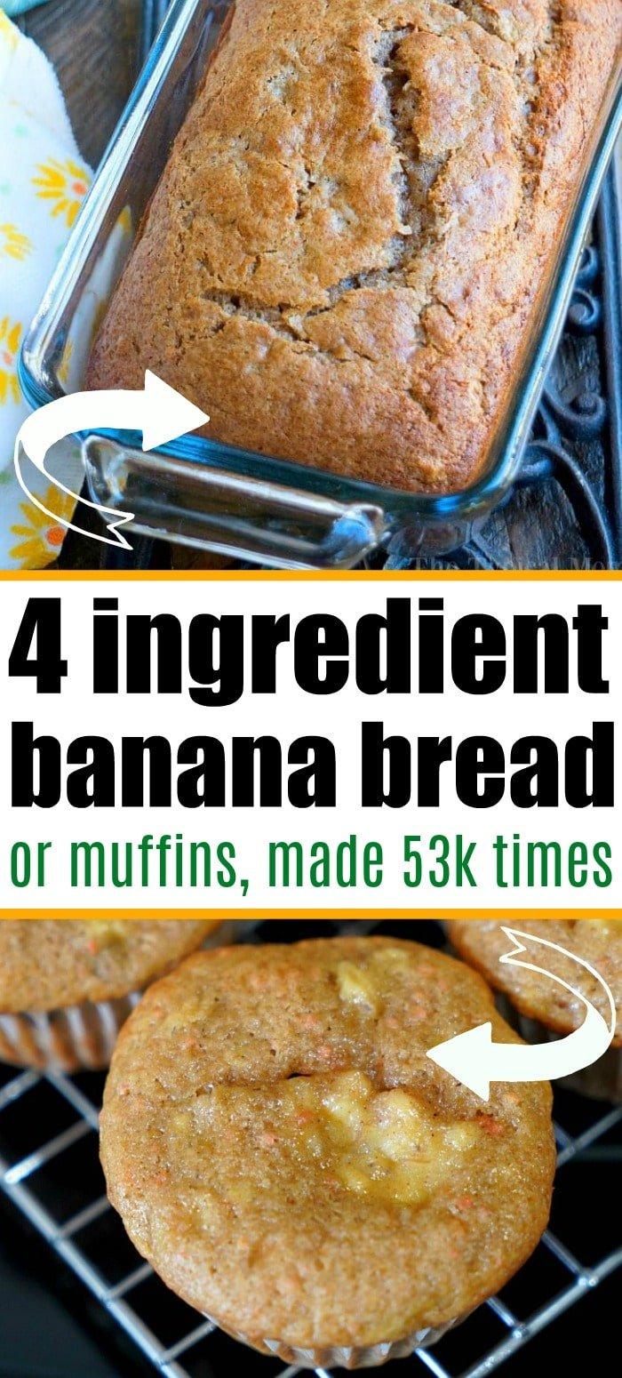4 ingredient banana bread recipe