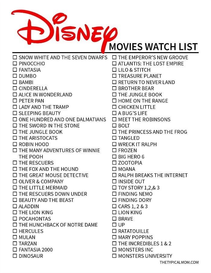 Disney Original Movies List