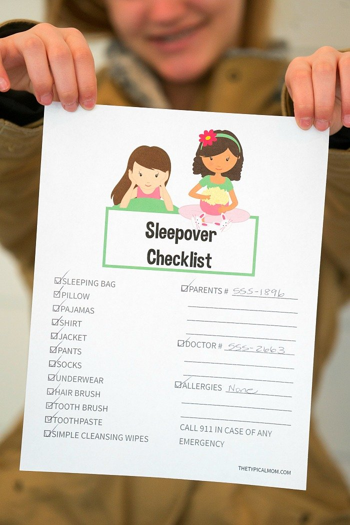 printable sleepover checklist