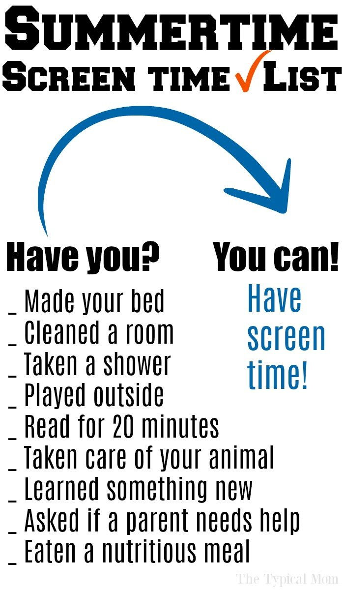 screen time printable