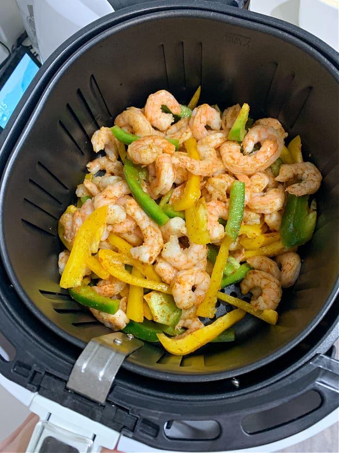 shrimp air fryer fajitas