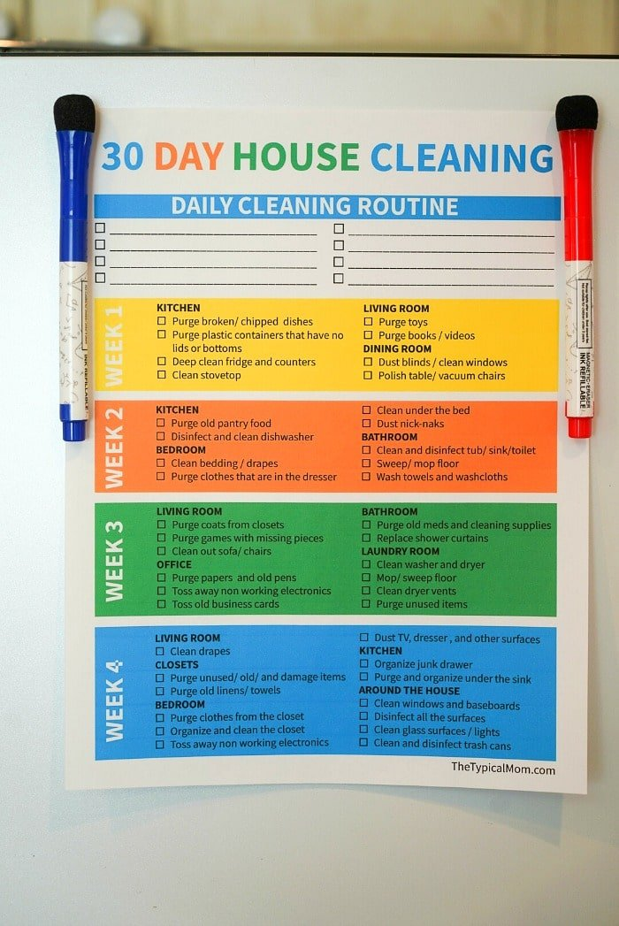 house cleaning printable
