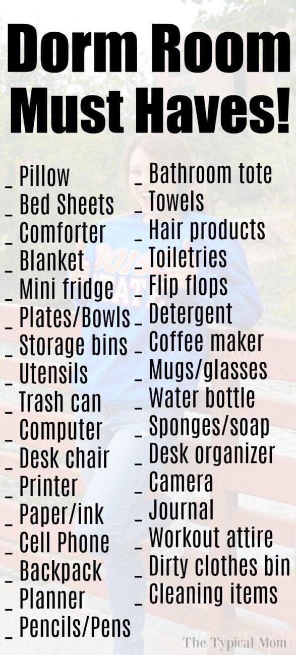 dorm room checklist 2